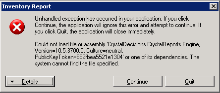 Could not load file or assembly crystaldecisions. Reportappserver.