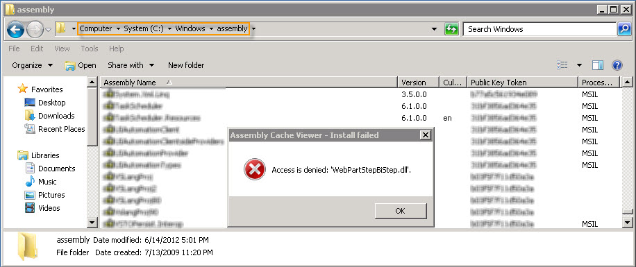 Access is denied: 'xxx.dll' - Manually add an assembly (.dll) to the GAC on Windows Server 2008 R2 (1/6)
