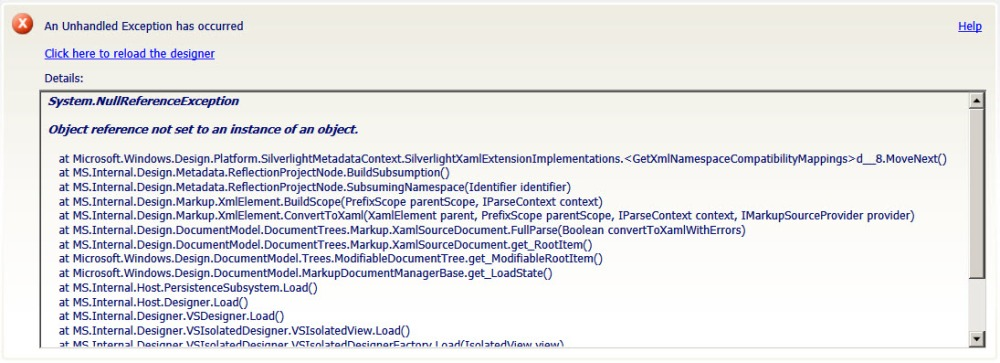 System.NullReferenceException in Silverlight application designer in Visual Studio 2010 (1/6)