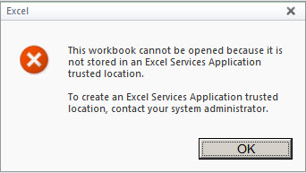 This workbook cannot be opened because it is not stored in an Excel Services Application trusted location - SharePoint 2010 (2/6)