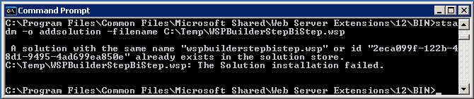 Deploy and Re-deploy a web part solution package (.wsp) using STSADM command. (5/6)