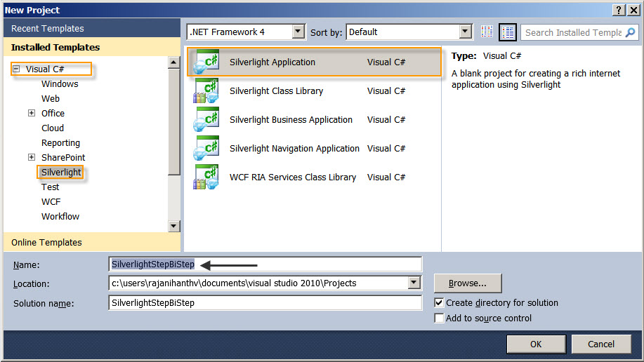Getting started with Silverlight - Visual Studio 2010 (2/6)