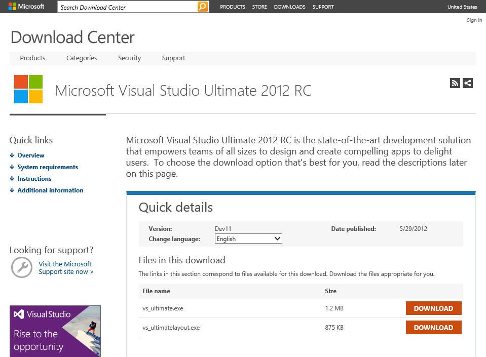 visual studio 2012 download